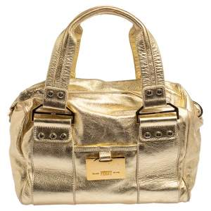 Gianfranco Ferre Gold Leather Satchel