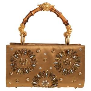 Gianfranco Ferre Gold Satin Crystal Embroidered Top Handle Bag