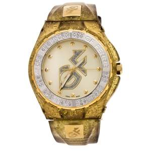 GF Ferre Yellow Gold Plated Stainless Steel Rubber GF.9024J Women's Wristwatch 45 mm