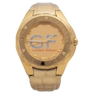 Gianfranco Ferre Gold Tone Stainless Steel 9040J Limited Edition Diamond Unisex Wristwatch 44MM