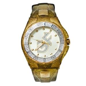 Gianfranco Ferre Yellow Gold Plated Stainless Steel Rubber Diamond GF.9024J Women's Wristwatch 45 mm