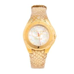 Gianfranco Ferre Mother of Pearl Gold Plated Stainless Steel Leather 9062J Women's Wristwatch 44 mm