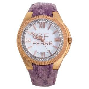 GF Ferre White Rose Gold Plated Stainless Steel Leather 9079J Women's Wristwatch 45 mm