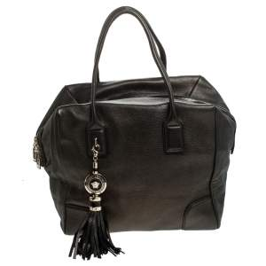 Versace Dark Bronze Leather Vanitas Satchel