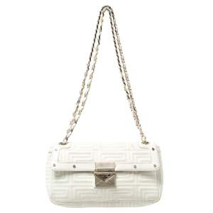 Versace White Patent Leather Flap Shoulder Bag