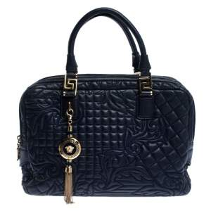 Versace Blue Leather Demetra Vanitas Top Handle Bag