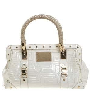 Versace White Quilted Patent Leather Snap Out Of It Satchel