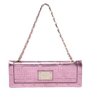 Versace Pink Quilted Patent Leather Flap Chain Bag