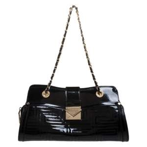 Versace Black Quilted Patent Leather Shoulder Bag