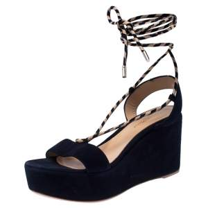 Gianvito Rossi Blue Suede Wedge Platform Ankle Strap Sandals Size 37