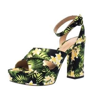 Gianvito Rossi Multicolor Floral Satin Platform Ankle Strap Sandals Size 39