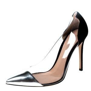 Gianvito Rossi Metallic Silver And Black Suede PVC Plexi Pointed Toe Pumps Size 39