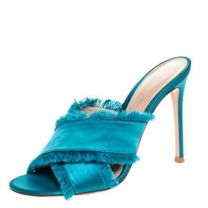 Gianvito Rossi Blue Frayed Satin Open Toe Slides Size 36.5