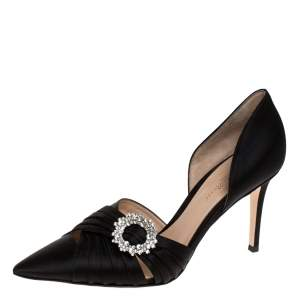 Gianvito Rossi Black Pleated Satin Crystal Embellished Pointed Toe Pumps Size 39.5