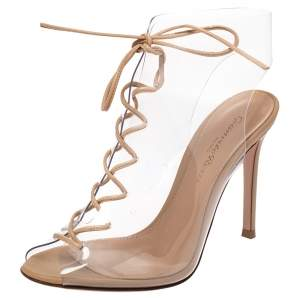 Gianvito Rossi Beige PVC And Leather Helmut Lace Up Boots Size 35.5