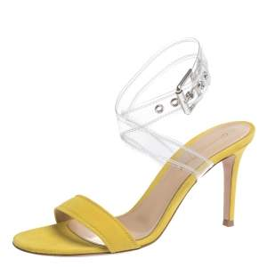Gianvito Rossi Yellow Suede And PVC Ankle Strap Sandals Size 36.5