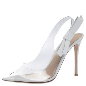 Gianvito Rossi White Leather And PVC Valentina Peep Toe Slingback Sandals Size 40.5
