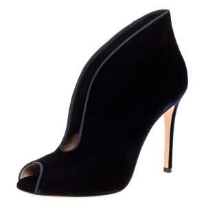 Gianvito Rossi Blue Velvet Vamp V Cut Peep Toe Booties Size 39.5
