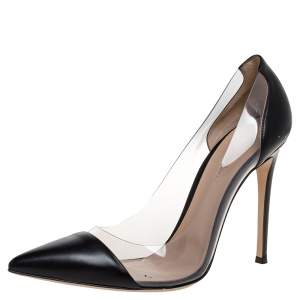 Gianvito Rossi Black Leather And PVC Plexi Pointed Toe Pumps Size 41