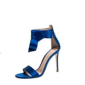 Gianvito Rossi Blue Satin Ankle Cuff Sandals Size 36.5