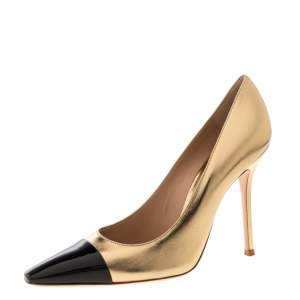 Gianvito Rossi Gold/Black Leather Lucy Pointed Toe Pumps Size 41