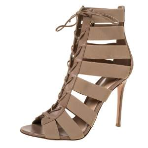 Gianvito Rossi Beige Elastic Fabric and Leather Trim Cage Gladiator Sandals Size 41