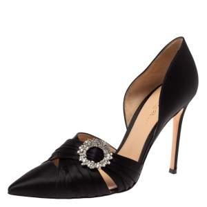 Gianvito Rossi Black Pleated Satin Crystal Embellished Pointed Toe Pumps Size 40