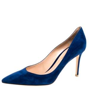 Gianvito Rossi Blue Suede Leather Pointed Toe Pumps Size 40.5