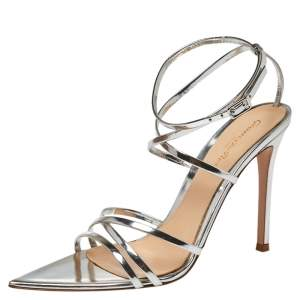 Gianvito Rossi Silver Leather Kim Cross Ankle Strap Sandals Size 37