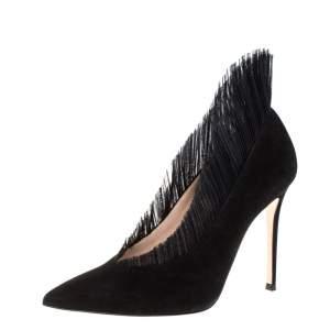 حذاء كعب عالى جيانفيتو روسى مقدمة مدببة دايفين سويدى أسود مقاس 40