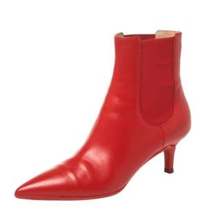 Gianvito Rossi Red Leather Ankle Boots Size 36.5