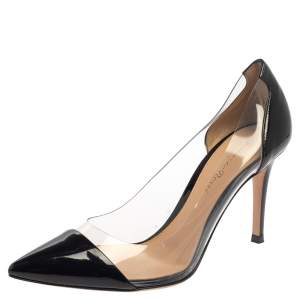 حذاء كعب عالي جيانفيتو روسي جلد أسود لامع وبي في سي بليكسي مقدمة مدببة مقاس 37