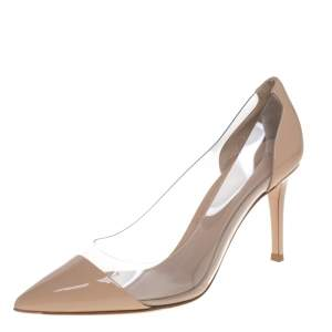 Gianvito Rossi Beige Patent Leather And PVC Plexi Pumps Size 36.5