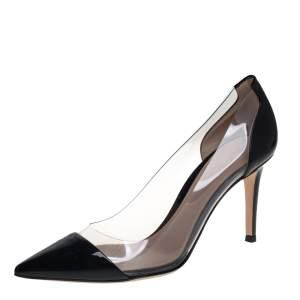 حذاء كعب عالي جيانفيتو روسي بليكسي مقدمة ممدببة بلاستيك مشمع و جلد لامع أسود مقاس 38.5