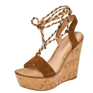 Gianvito Rossi Brown Suede Platform Wedges Ankle Wrap Sandals Size 40