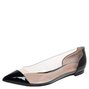 Gianvito Rossi Black Patent Leather And PVC Plexi Pointed Toe Ballet Flats Size 39