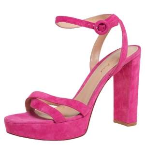 Gianvito Rossi Pink Suede Poppy Ankle Strap Sandals Size 39