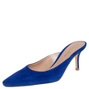 Gianvito Rossi Blue Suede Paige Mules Size 36