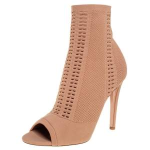 Gianvito Rossi Beige Knit Fabric Open Toe Ankle Boots Size 40