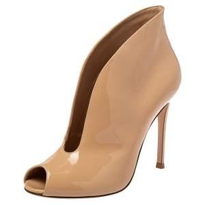 Gianvito Rossi Beige Patent Leather Peep Toe Booties Size 36.5