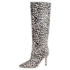Gianvito Rossi White/Brown Calf Hair Knee Length Boots Size 36