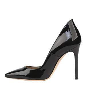 Gianvito Rossi Black Patent Leather Ellipsis Pumps Size EU 38.5