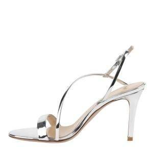 Gianvito Rossi Silver Leather Manhattan 85 Sandals Size EU 37