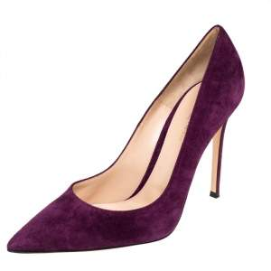 Gianvito Rossi Purple Suede Pointed Toe  Pumps Size 41.5