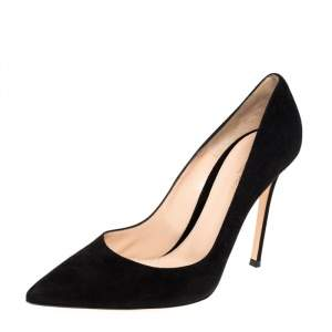 Gianvito Rossi Black Suede Pointed Toe Pumps Size 41