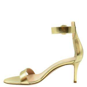 Gianvito Rossi Gold Leather Logo Ankle strap Sandals Size EU 35.5