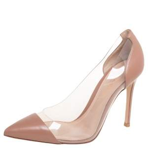 Gianvito Rossi Beige Leather And PVC Plexi Pointed Toe Pumps Size 36