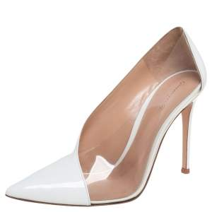 Gianvito Rossi White Patent Leather and PVC Deela Pointed Toe Pumps Size 40
