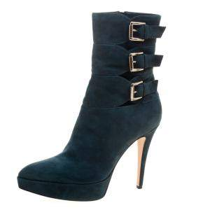Gianvito Rossi Emerald Green Suede Buckle Detail Pointed Toe Boots Size 40