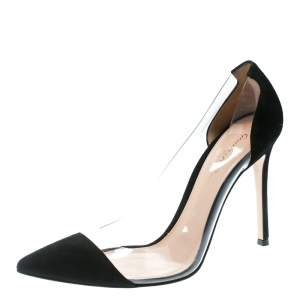 Gianvito Rossi Black Suede and PVC Plexi Pointed Toe Pumps Size 38.5